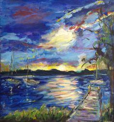 PRICE REDUCED  Grand Traverse Bay   Original by RLeopoldArt, $235.00