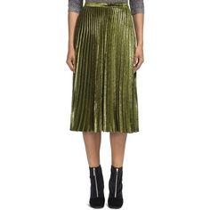 Whistles Kitty Pleated Metallic Velvet Midi Skirt (440 NZD) ❤ liked on Polyvore featuring skirts, khaki, whistles skirts, metallic midi skirt, mid-calf skirt, calf length skirts and knee length pleated skirt