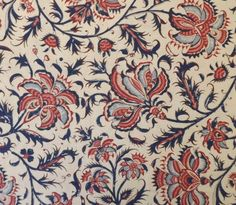 Dutch Heritage Floral Large  Cream  1/2yd by Motifsbyhand on Etsy, $9.50