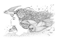 Spirit of freedom. Flying with owls and fish.Black and white ink artwork.