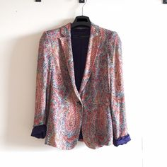 """Zara blazer Multi-color paisley print blazer from Zara. Lining is navy blue, outside is buttery cotton- very soft! Single button closure, padded shoulders, size US XS, would fit size 0 or 2, looser fit, 29"""" top to bottom. Excellent condition, worn few times only. Made in Morocco. Zara Jackets & Coats Blazers"""