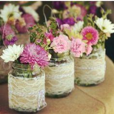Vidro reciclado renda twine e flores