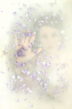 Blurry dream photography - Woman with pale  purple petals and a butterfly~
