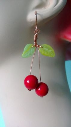 August Challenge - Wired cherry earrings from Renee Webb Allen