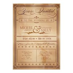 Vintage Poster Style Sepia DIY Wedding Invitation