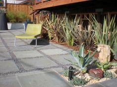 concrete pavers with gravel patio