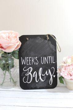 Chalkboard Pregnancy Countdown Sign  CFE19 by ThePaperWalrus, $19.99