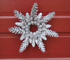 Glittered Pine Cone Wreath Snowflake Shape