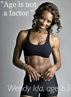 Fit body motivation When you trying to find any possible excuse not to excercise or eat healthy eg. in my age., too tired, that's not possible! Here is a true motivation. Wendy Ida 63 years old looking better than many young people. Sport Motivation, Fitness Motivation, Weight Loss Motivation, Fitness Goals, Health Fitness, Fitness Quotes, Fitness Tracker, Fit Women Motivation, Gym Motivation Pictures