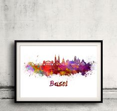 Basel skyline in watercolor over white background with name of city - SKU 1728 by Paulrommer on Etsy