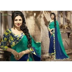 Gorgeous work wear green and blue printed saree