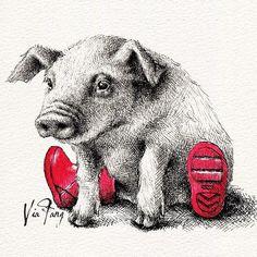 Oink #pig #piggy #oink #illustration #illustrator #illustagram #art #artsy #artwork #artstagram #artoftheday #instaart #instalike #instadaily #ink #inkdrawing #drawing #drawingoftheday #doodle #handdrawn #visualart #welly #animal #animalart #イラスト #動物 #插畫 #插圖 #手繪 #viafang