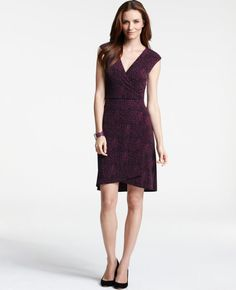 This dress seems very flattering with the v-neck, cap sleeve, and just above the knee length.  According to the one review, it's not too low cut and drapes well.  This could be a good option for a nice dinner.  A killer heel and some low-key accessories would complete this look!
