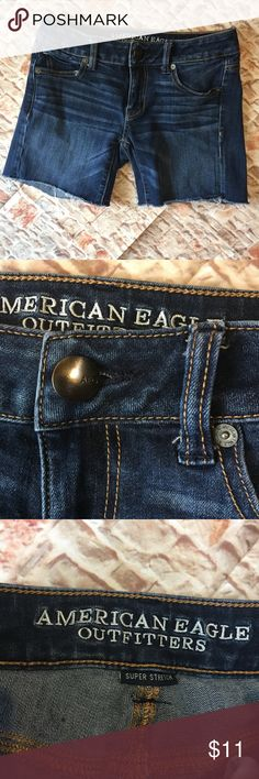 🦅American Eagle Dark Denim cut off Jean shorts 🦅 Dark denim stretchy cut off midi shorts from American Eagle Size 0  from a smoke and pet free home American Eagle Outfitters Shorts