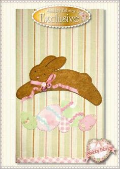 Easter Bunny Tea Towel pattern: Our new Shabby Fabrics exclusive Easter Bunny Tea Towel pattern is so quick and fun to make. Just purchase your favorite towel then follow the included instructions for fusible applique, embellishing and binding. Look for other holiday and seasonal patterns soon! Be sure to pick up the coordinating Easter Bunny Table runner pattern and/or kit.