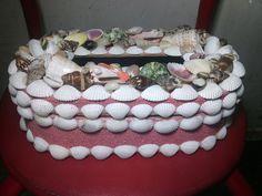 Handmade Artwork Nautical Tissue Box Made from Sea Shell, Snails, and Sea Sands #Handmade