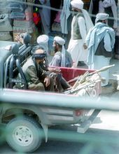 "The Taliban (Pashto: طالبان‎ ṭālibān ""students""), alternative spelling Taleban, is an Islamic fundamentalist militant movement mostly of Pashtun tribesmen. It ruled large parts of Afghanistan and its capital, Kabul, as the Islamic Emirate of Afghanistan from September 1996 until October 2001."