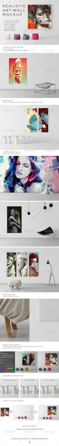 realistic art wall mock up download httpgraphicrivernet