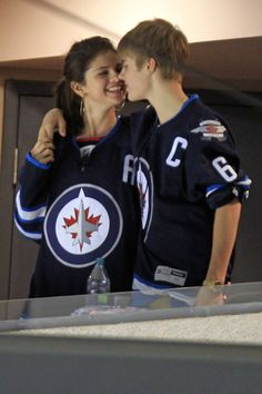 Selena and the Biebs - such an adorable couple and they know how to pick a jersey ;) #NHL