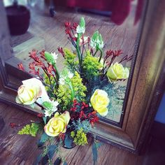 Roses, Kangaroo Paw, Star of Bethlehem, and solid Aster