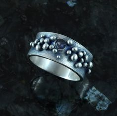 Blue Moon spinel and fine silver ring sz 6.5 by BlueParrotca, $129.00