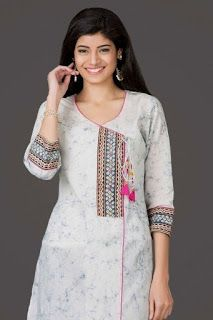 40 Amazing Kurti Neck Designs With Lace and borders Bling Sparkle Salwar Designs, Simple Kurti Designs, Kurta Designs Women, Kurti Designs Party Wear, Neckline Designs, Dress Neck Designs, Designs For Dresses, Blouse Designs, Chudidhar Neck Designs