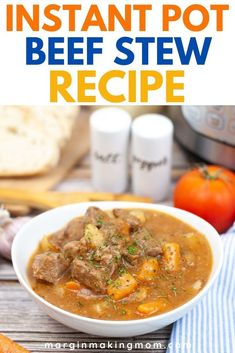 This easy beef stew recipe uses your Instant Pot pressure cooker to save time! You can have homemade beef stew in just minutes--rich and flavorful comfort food at its finest! Pressure Cooker Beef Stew, Instant Pot Pressure Cooker, Pressure Cooker Recipes, Easy Beef Stew, Homemade Beef Stew, Food Dishes, Main Dishes, Instant Pot Beef Stew Recipe, Stuffed Peppers