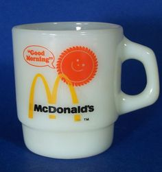 Vintage McDonald's Good Morning Coffee Cup Fire King Mug Anchor Hocking #FireKing
