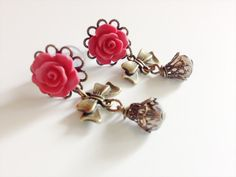 2g Dangle Plugs With Bows Body Jewelry 21 Custom Colors 6g Rose Plugs 0g 4g Gauged Earrings Antiqued Brass Ear Plugs Bows and Beads on Etsy, $28.00