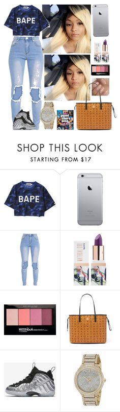 """"""""""" by xglodollx ❤ liked on Polyvore featuring Teeez, Maybelline, MCM, NIKE and Michael Kors"""