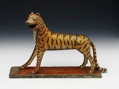 Tiger Toy, Wood painted, India, 1865