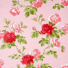 New Luxury Floral Bouquet Roses Flowers Polka Dots Vinyl 10m Wallpaper Roll Shabby Chic