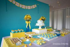 Yellow and Blue Rubber Duckie Birthday Party - Rubber Duck Party - Kara's Party Ideas - The Place for All Things Party Rubber Ducky Party, Rubber Ducky Birthday, Rubber Ducky Baby Shower, Baby Shower Duck, Shower Party, Baby Shower Parties, Baby Shower Themes, Shower Ideas, First Birthday Parties
