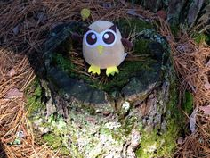 Owly is preparing to give a stump speech in the northern Wisconsin woods. Day 285 of #yearofowly #lifeofowly