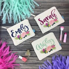 Looking for an adorable and useful thank you gift for your bridal party?! Our fab personalized makeup bags are definitely the oh so perfect favor!