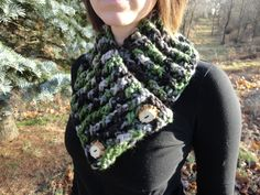 Camo Neck Warmer with Deer Antler Buttons Chunky by TheCrochetLion, $35.00