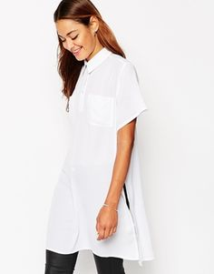 T-shirt by ASOS Collection Semi-sheer woven fabric Point collar Button placket Twin chest pockets Longline style Side splits Relaxed fit Machine wash Polyester Our model wears a UK 4 and is 175 tall Models, Long A Line, White Tops, Shirt Style, White Dress, How To Wear, Tall Tees, Clothes, Asos Uk