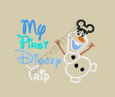 NEW Design - My First Disney Trip Full Body Frozen Snowman with Mouse Ears Applique Embroidery Design 5x7 6x10 on Etsy, $3.75