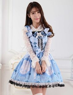 df6e613a3f8 Blue Polyester Lace Lolita Jumper Skirt