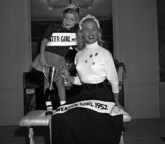 Miss Sweater Girl 1952 and 1972.  Vintage Beauty Pageant Winners