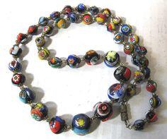 "Vintage Millefiori Graduated Art Glass Venetian Bead Lamp-work Colorful Murano Bead Necklace, 24"" long!"