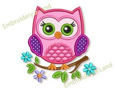 Cute Owl Applique Embroidery design Machine by EmbroideryLand