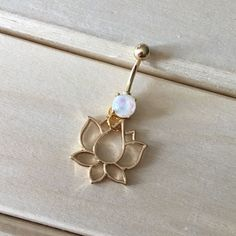 Gold Opalite Lotus Belly Button Ring