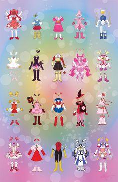 1. CCS, 2. Minky Momo, 3. Mahou Tsukai Sally, 4. Magical Do*Re*Mi, 5. Moetan, 6. Princess Tutu, 7. Kaitou Saint Tail, 8. Magic Knight Rayearth (Hikaru), 9. Pretty Cure, 10. Pretty Cure, 11. Ai Tenshi Densetsu Wedding Peach, 12. Tokyo Mew Mew (Mew Ichigo), 13. Bishoujo Senshi Sailor Moon, 14. Mahou Tsukai Tai (Sae), 15. Shugo Chara! (Amulet Heart), 16. Puella Magi Madoka Magica (Madoka), 17. Nurse Angel Ririka SOS, 18. Cutey Honey, 19. Mahou Shoujo Ririkaru Nanoha, 20. Beat Angel Escalayer