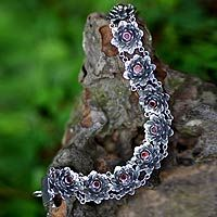 garnets and sterling silver, sacred red lotus