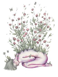 """From my rotting body, flowers shall grow and I am in them and that is eternity."""""""" by Kate Powell . Flower Drawing Tumblr, Tumblr Flower, Easy Flower Drawings, Tumblr Drawings, Tumblr Art, Flower Sketches, Art Drawings, Drawing Flowers, Pencil Drawings"""