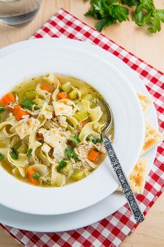 Recipe for chicken noodle soup -- perfect for a cold winter day!
