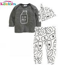 Keelorn Baby Rompertjes Herfst Winter Baby boy kleding Lange Mouw Melk Fles Gedrukt Tops + Broek + Hoed 3 stks Kids Baby meisje kleding(China)