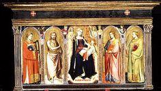 """""""Virgen e Hijo en trono con santos"""" creada por Taddeo Gaddit en Firenze circa 1340, hecho con tempera sobre madera con una base de oro, mide 109,9 x 228,9 cm en total, actualmente se encuentra en el Metropolitan Museum of Art en Estados Unidos. Esta es una pieza de altar gótica en la que se representan a la virgen y el niño Jesús con varios santos como San Juan Bautista, el apóstol Santiago, rodeados de ángeles"""