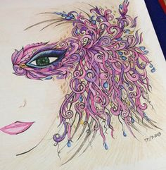A on my colouring series from creative haven fanciful faces.using pinks and purples as main colors.and free style on background. Adult Coloring Pages, Coloring Books, Colouring, Creative Inspiration, Color Inspiration, Anti Stress Coloring Book, Doodle Art Drawing, Steampunk, Thing 1